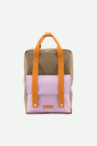 sticky lemon deluxe envelope backpack in olive and pink