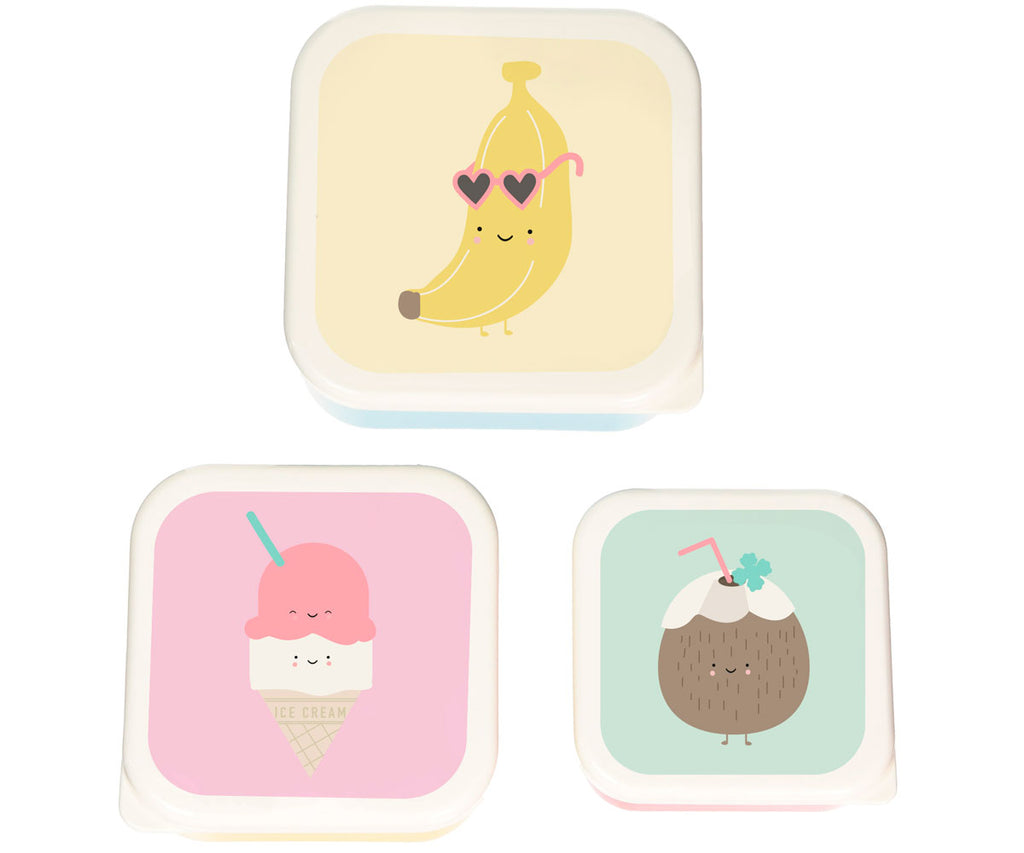 set of 3 boxes lunch banana ice cream coconut