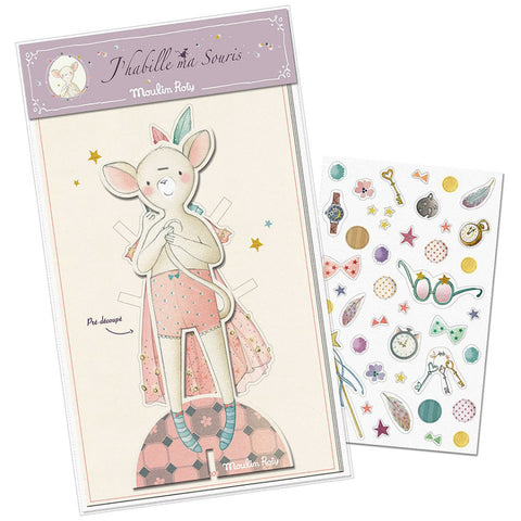 dress doll mouse from moulin rosy paper cardboard