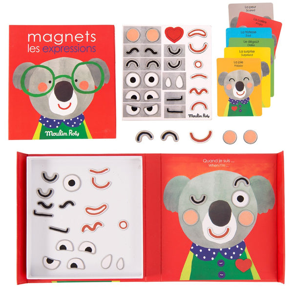 Moulin Roty - Expressions Magnets in red color with koala bear