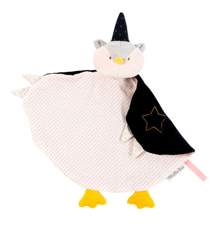 Magician owl comforter in black and grey