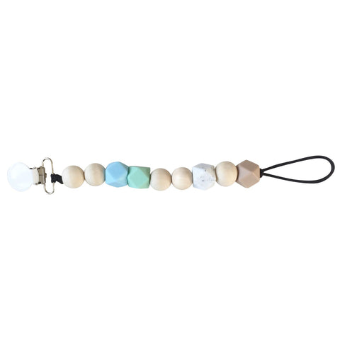 from Play at Slaep pacifier clip wood and silicon yay for pastel blue and green bra free