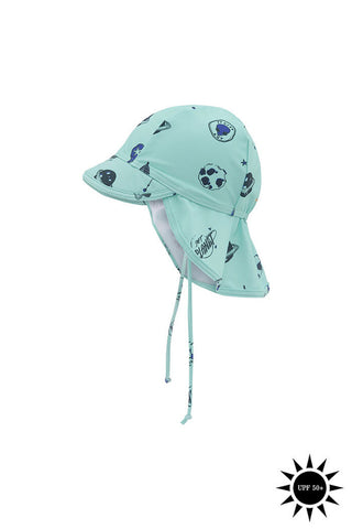From Soft Gallery the Alex sun Hat is UPF 50+ light blue with space illustration