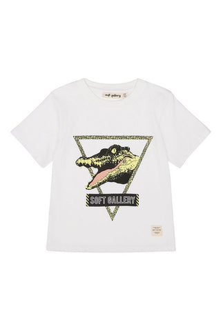 see ya t shirt from soft gallery white with green crocodile
