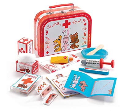 malting bododoudou pet doctor suitcase red and blue madera doctor animales de djeco