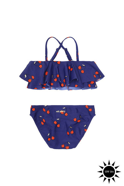 From Soft Gallery, the lovely Allou Bikini blue with red cherry print