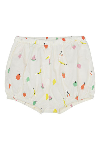 Soft Gallery Bloomers in woven cotton with fruit print and frills at the back with fruit print