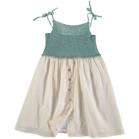 ALBERTA KNITT&VOILE FLOWER COMBI DRESS in light green and off white from buho barcelona