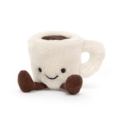 amusable coffee cup with feet and smile white and brown jellycat