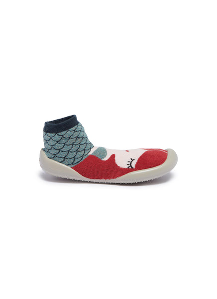 collegien mermaid slippers in color red and green with lurex