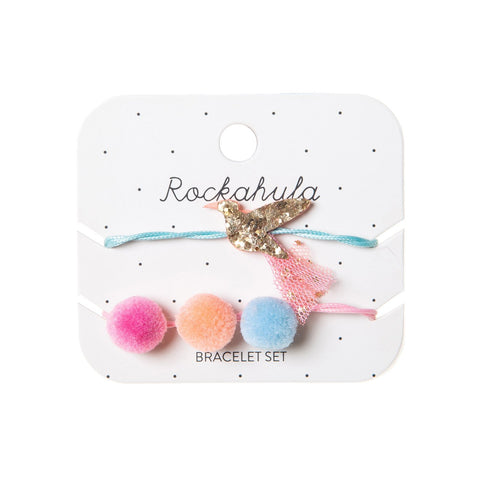 hummingbird bracelets set rockahula pom pom golden bird