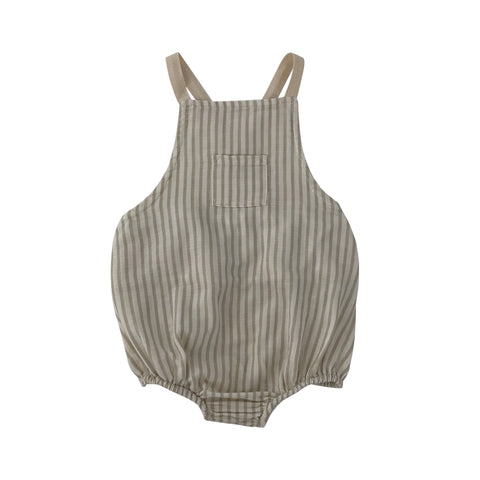 liilu mika romper stripes sand and white stripes with white straps