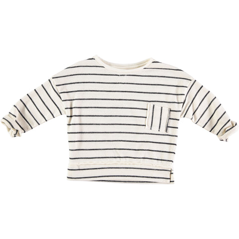 BIARRITZ NAVY STRIPES SWEATER from buho white and navy blue