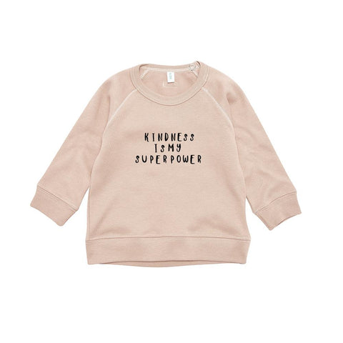organic zoo, kindness is my superpower, sweatshirt, pink