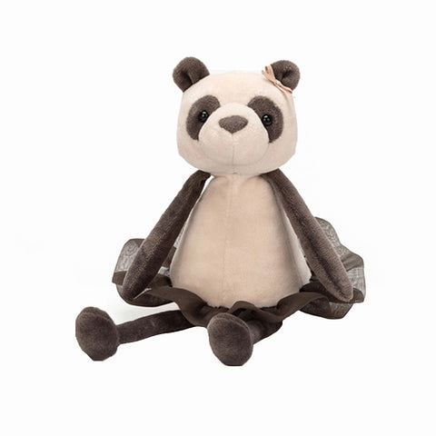 dancing darcey panda from jellycat in black and white with skirt