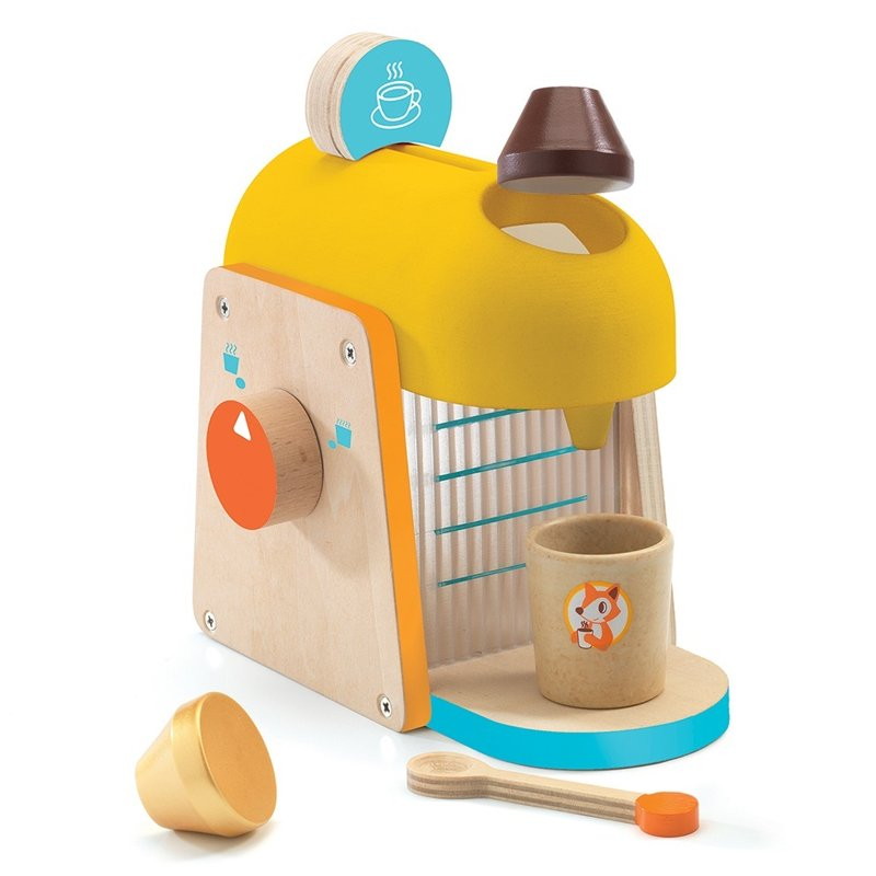 coffee machine from djeco wooden toy yellow orange and blue