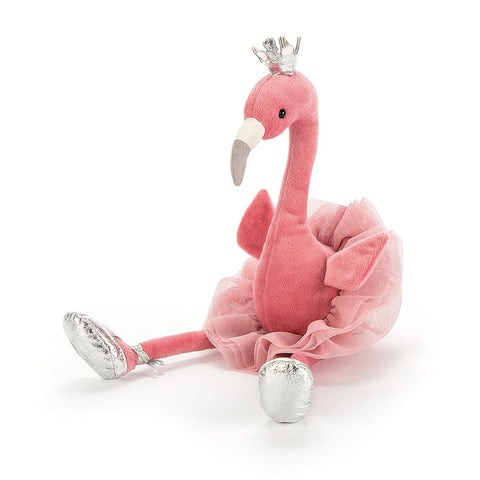 pink fancy flamingo from jellycat with silver shoes and crown