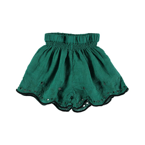 leila linen embroidery shorts in green from buho barcelona