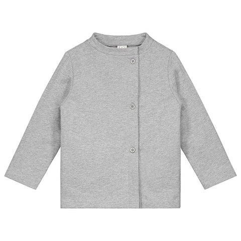 gray label button cardigan in grey melange color