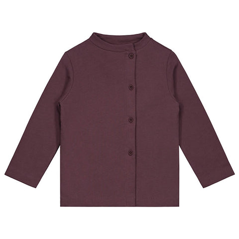 gray label button cardigan in color plum