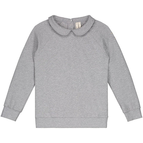 gray label collar sweater in grey melange sudadera de gray label
