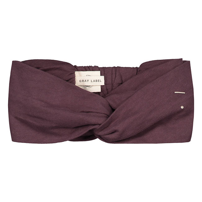 gray label twist headband plum
