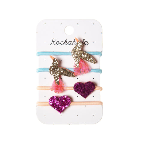 hummingbird set of ponies with glitter gold and pink heart from Rockahula