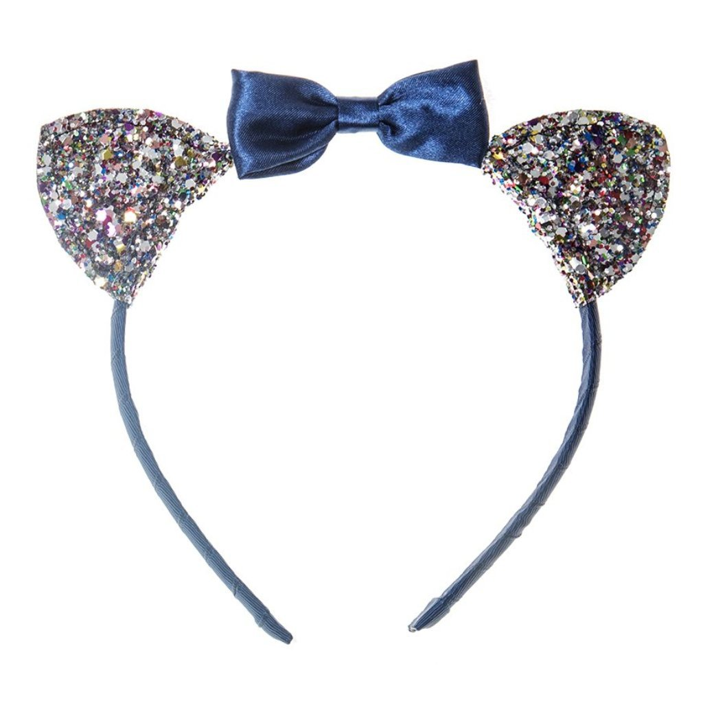 ROckahula SUKI CAT EARS ALICE BAND in blue velvet and glitter