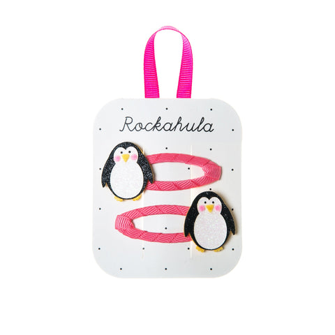 penguin hair clips rockahula pink black and white glitter