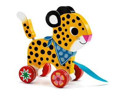greta pull along djeco wooden toy leopard with bandana