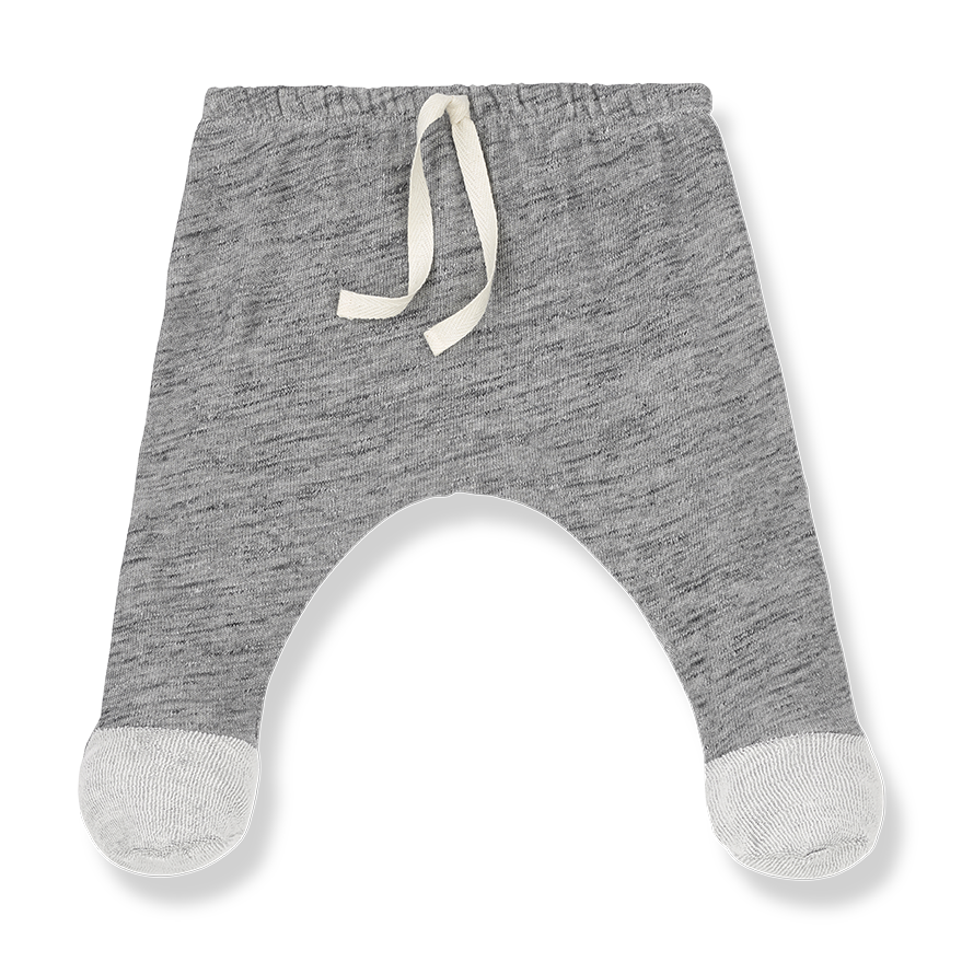 one more in the family newborn pants riu melange grey with feet