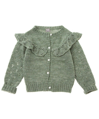 From Tocoto Vintage a sweet knitted cardigan with flounces in green