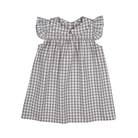 Louise dress, check pattern, romantic, konfetti kids, barcelona, bebe organic,