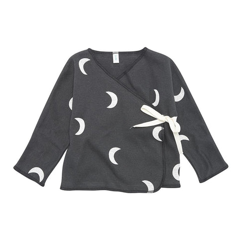 Organic Zoo - Midnight Wrap Top black with white moon