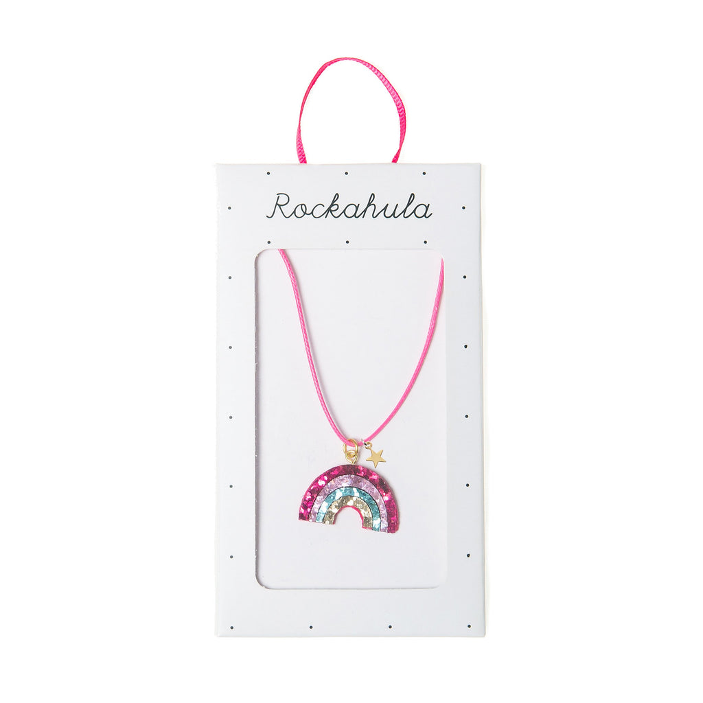 rainbow star necklace from rockahula pink