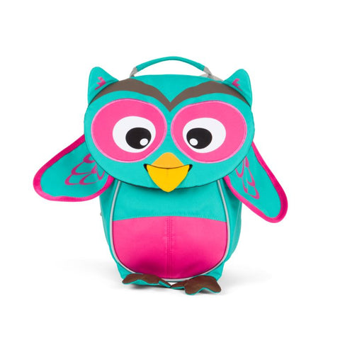 olivia owl backpack Affenzahn mochila recyclable green and pink