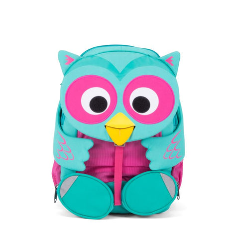 Olina owl Affenzahn green and pink backpack for kids recycled bottles