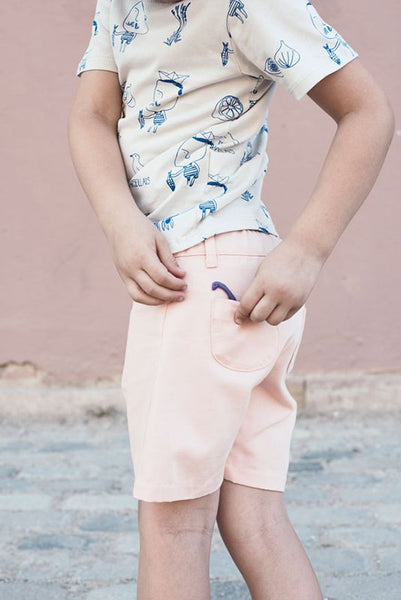 petanque bermuda in pink from the barcelona brand les petits vagabonds available at konfetti kids the shop for kids in barcelona. Konfetti kids tienda para niños en barcelona