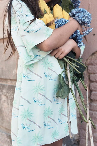 BOHEMIAN AFTERNOON DRESS,100 % COTTON VISCOSE from Les Petits Vagabonds available at konfetti kids in barcelona. Shop for kids in barcelona. Konfetti kids tienda para niños en barcelona