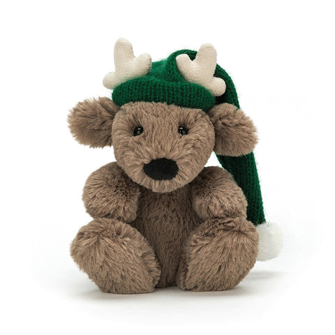 Jellycat ~ Poppet Reindeer with green hat