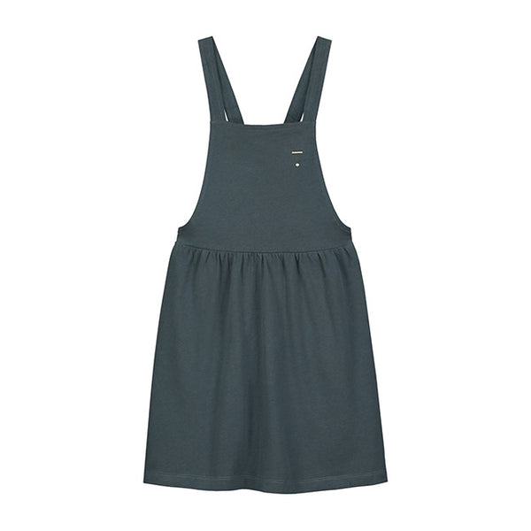 from gray label pinafore dress in blue grey