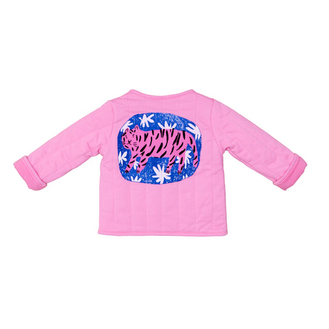short jacket from Noe Zoe Berlin, featuring a tiger on the back, pink, konfetti kids, barcelona