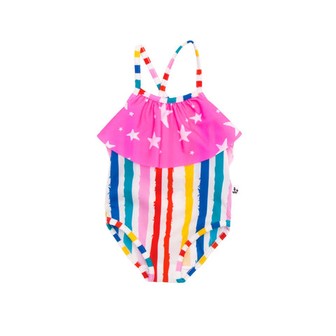 From Noé Zoë a classic swimsuit with comfortable fit in three colours and crossing straps on the back. To make it a special piece it has ruffles around the neckline. at konfetti kids shop for kids, konfetti kids es la tienda para niños en barcelona