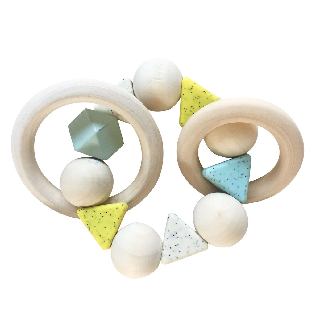 rattle wood and silicon from Play at Slaep handmade BPA free in beech, lemon yellow, light blue and white