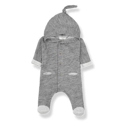 onesie one more in the family with hoodie grey melange con capucha