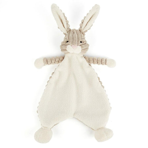 hare cordy roy soother from jellycat grey and off white