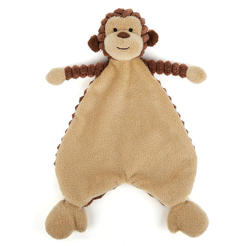 monkey soother from Jellycat cord roy monkey brown and beige