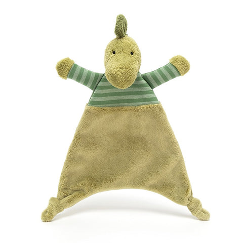 soother dino stripey green dinosaur from jellycat