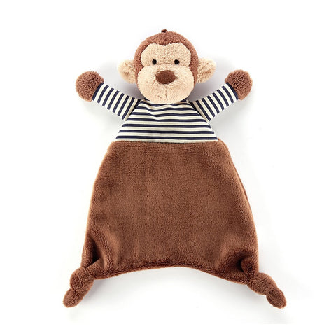 striped t shirt monkey from jellycat brown with black and white t shirt