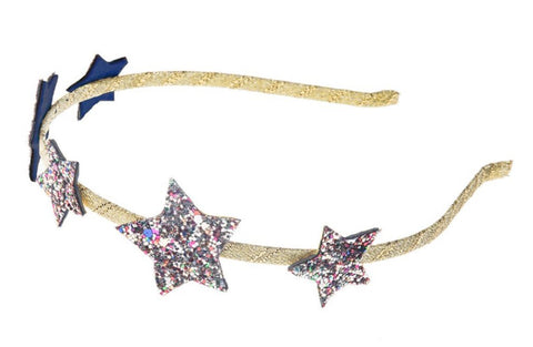 With Rockahula wear the stars in your hair with our dazzling alice band, featuring five glitter stars secured to a grosgrain ribbon wrapped band.